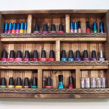 Nail Polish Organizer Nail Polish Display by barbwireandbarnwood