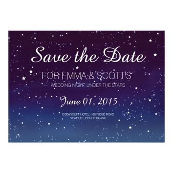 "Wedding under the stars Save the Date PURPLE 5"" X 7"" Invitation Card"
