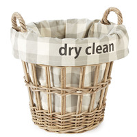 "French Laundry Home, ""Dry Clean"" Check Basket, Small, Laundry Hampers"