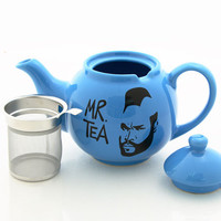 Mr.  T Teapot in blue, mr tea, with metal tea strainer basket, stoneware upcycled