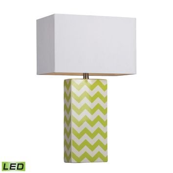Chevron Print Ceramic LED Table Lamp In Green And White