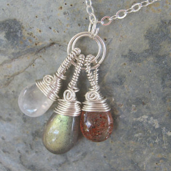 Stars, Sun and Moon Labradorite Sunstone and Moonstone Wire Wrapped Necklace, 925 Sterling Silver 16 to 20 inches, Choose Your Length