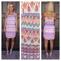 Tribal in Time Print Dress