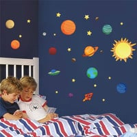 solar system planets moon wall decals kids gift bedroom decorative stickers diy cartoon mural art pvc nursery boys posters 1313. SM6