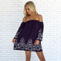 Fairytale Embroider Dress in Navy Blue
