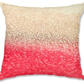 Decorative Woven Couch Throw Pillow from DiaNoche Designs by Monika Strigel Unique Bedroom, Living Room and Bathroom Ideas - Gatsby Coral Gold