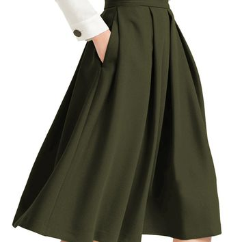 yige Women's High Waisted A Line Skirt Skater Pleated Full Midi Skirt Green US8