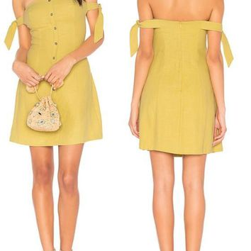 Yellow Bandeau Backless Single Breasted Zipper Off Shoulder Party Mini Dress