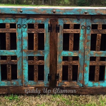 Handmade Rustic Los Cruces Buffet or Entry Table