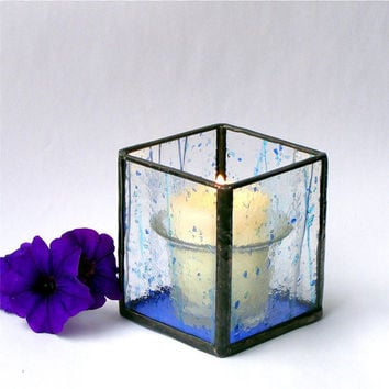 Christmas in July CIJ Stained Glass Votive Candle Holder Blue Confetti Glass Candle Lantern
