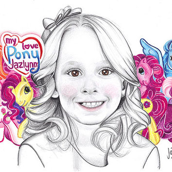 "Custom made pencil portrait with colorful background. 11x14"" children's portrait. Art with a cause. Personalized drawing. Kid's drawing"