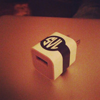 iPhone Charger Monogram Sticker in Circle