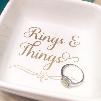 Ring Dish Holder - Engagement Gift - Personalized - Gold - Silver - Wedding Gift - Wedding Favors - Bridal Shower Gift - Jewelry Holder