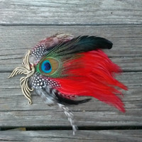 Red, Black and Peacock Feather Fascinator, Hair Clip or Hat Pin