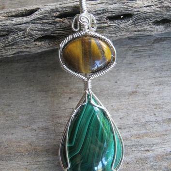 Malachite & Tiger Eye Pendant, Sterling Silver, Midwife Stone, Wire Wrapped Pendant, Green Gemstone, Pregnancy Pendant, READY To SHIP