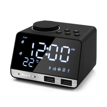 Inlife K11 Bluetooth 4.2 Radio Alarm Clock Speaker With 2 USB Ports LED Digital Alarm Clock Home Decration Snooze Table Clock