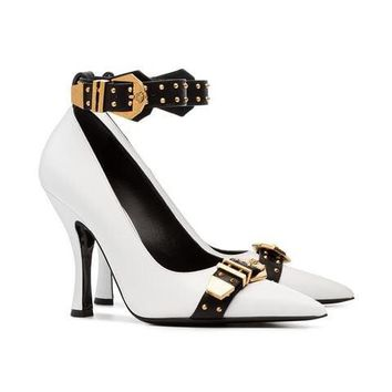 Gold Cuffed Pumps by Versace