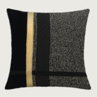 "Decorative Throw pillow cover, Black, Grey, Gold colors, fits 18"" x 18"" insert, Toss pillow cover, Cushion cover."