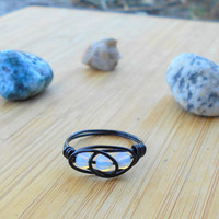 Ring, handmade ring, Opal ring, Opalite stone ring ,wire ring, wire wrapped ring, bohemian ring, custom ring, hippie jewelry, stone ring