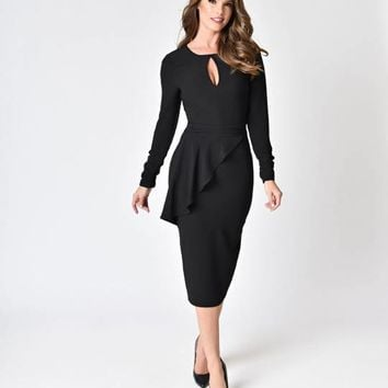 Bettie Page Vintage Style Black Crepe Long Sleeve Christina Wiggle Dress