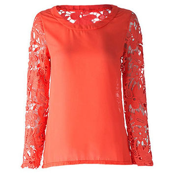 Lace Floral Paneled Long Sleeve Blouse