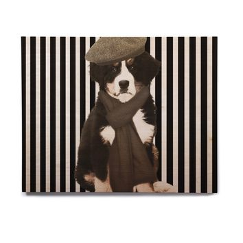 "SHIRLEI PATRICIA MUNIZ ""PARISIAN PUPPY"" Black Animals Illustration Birchwood Wall Art"