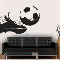 Wall Decal Vinyl Sticker Decals Art Decor Design Football Player Team Ball Boots Kicking Soccer Sport Kids Children Beedroom (r1325)