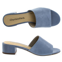 Watson Blue By Classified, Low Block Heel Slippers. Women's Slide In Open Toe Sandal