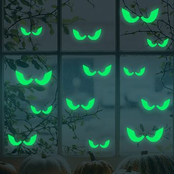 2018 Hot Sale 18Pcs/set Glowing In The Dark Eyes Wall Glass Sticker Halloween Decoration Decals Luminous Home Ornaments- Green