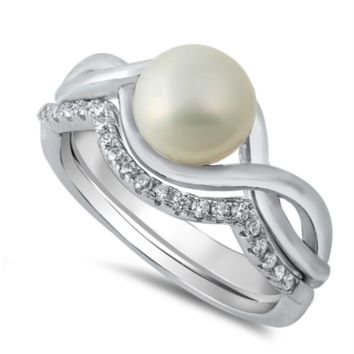 Pearl Ladies Ring Set Size 5-10 in .925 Sterling Silver and CZ