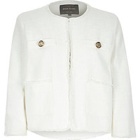 River Island Womens Cream boxy boucle jacket
