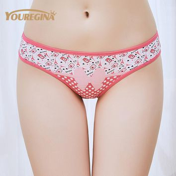 YOUREGINA Woman Underwear Women's Cotton Briefs Solid Cute Bow Low-Rise Sexy Ladies Girls Panties Lingerie printin  (1 piece)