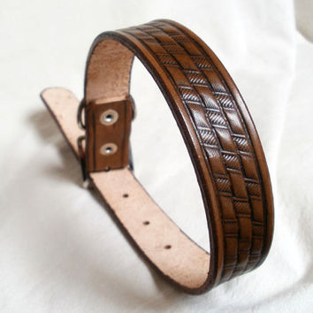 "Tooled leather dog collar, large, 1"" wide, in tan, brown or mahogany, basket weave, made to order"
