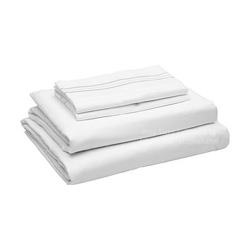 Twin XL / Dorm / Hospital Bed Sheets - White - Deep Sleep 1800 Thread Count Sheet Set - Breathable, Moisture Wicking, Ultra Soft, Wrinkle Free