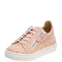 Giuseppe Zanotti Mattaglitt Glitter Low-Top Sneaker, Toddler