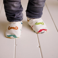 "Organic ""Mustache"" Shoes - NB to 4T"