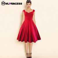 Fashion Summer dress solid vestido vintage deep V-neck women Slim sleeveless party 50s audrey hepburn Elegant cotton dresses