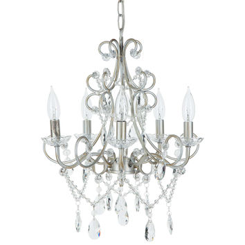 Theresa Classic Crystal Plug-In Chandelier | 5 Lights | Silver