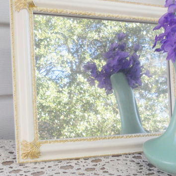 Cottage Style Wall or Easel Style Faux Mirror, Repurposed, Handmade, Housewarming Gift, Wedding, Home Decor