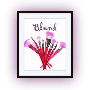 Blend, makeup brushes watercolor painting, quotes art word decal, Printable vanity Wall decor, decals, fashion, quote girl gifts, bathroom