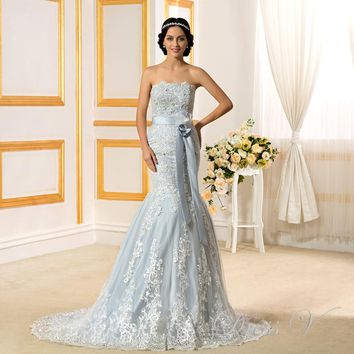2017 Romantic Light Blue Mermaid Wedding Dresses Lace Strapless off the Shoulder Appliques Backless Chapel Train  Bridal Gowns