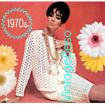 DIGITAL PATTERN • Suit Crochet PATTERN • Vintage 1970s Ladies Dress Crochet Pattern • Top Pattern • Skirt Pattern • Classic Suit • Lunch