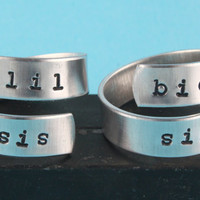 Lil Sis and Big Sis Ring Set  Little Sister  by StampinOffThePath
