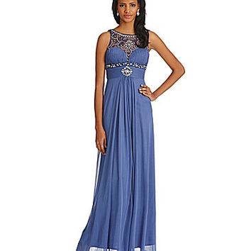 Cachet Beaded Illusion Gown - Dior Blue