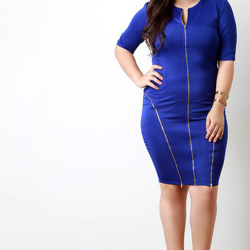 Three-Way Zipper Trim Bodycon Dress