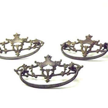 Victorian 1900s Metal Drawer Pulls, Ornate Cast Brass Rococo Hardware, Dresser Handles