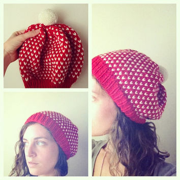Valentine's Day Retro Slouchy Hat with Pom Pom - Red & Ivory