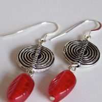 Red Leaf Earrings with Sterling Silver Swirls by NewToYouJewelry