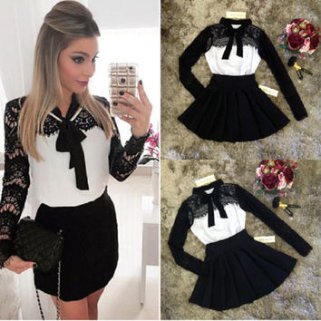 Ladies elegant Dress 2016 New Womens Sweet Autumn Winter Lace Long Sleeve Pleated Waisted Dress