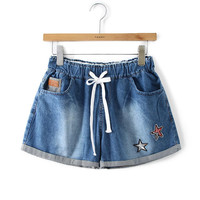 Elastic Waist Lace-up Star Print Denim Shorts